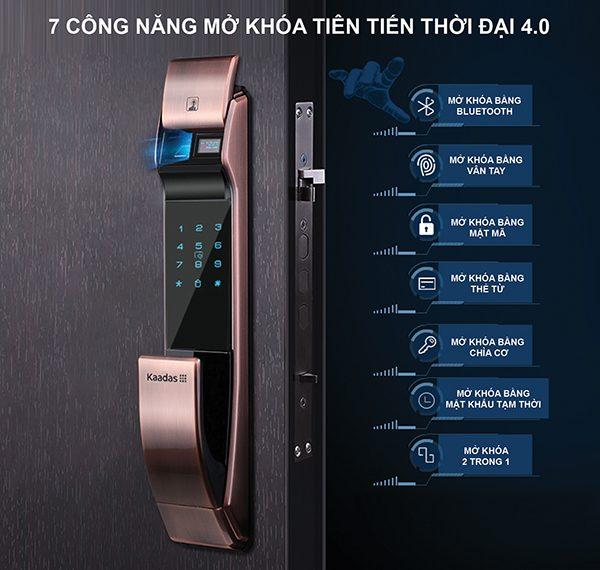 khóa vân tay K7 đa dạng công năng mở khóa
