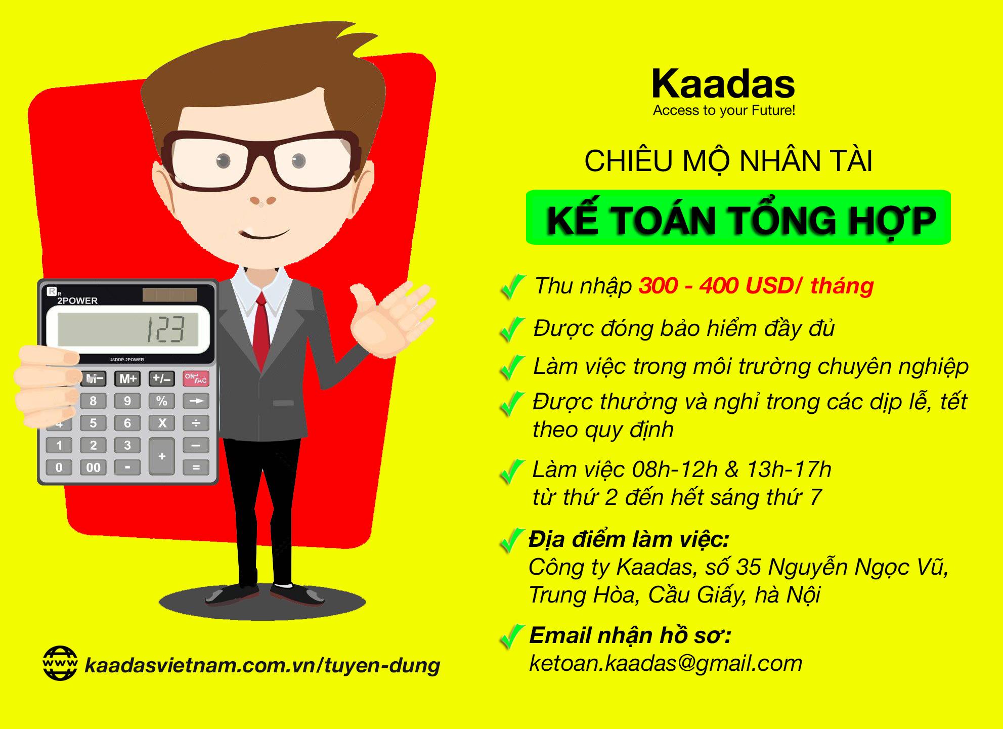 Vinmat Kaadas tuyển dụng kế toán tổng hợp