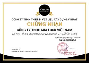 Chứng nhận nhà phân phối chính thức của Kaadas